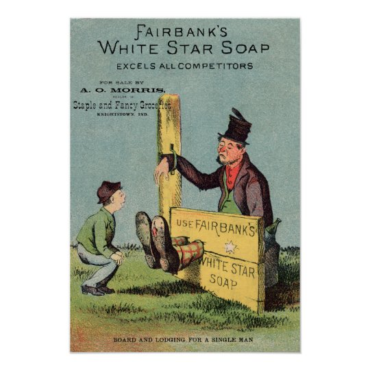 Fairbank's White Star Soap Ad w Seller Poster
