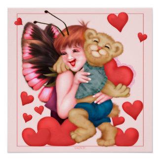 FAIRIE AND BEAR CUTE CARTOON Perfect Poster