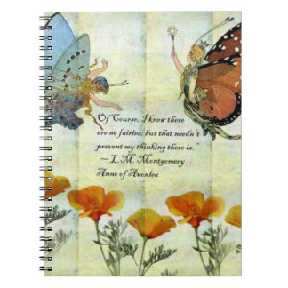 Fairies and Poppies w/ LM Montgomery quote Notebook