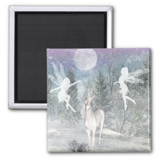 Fairies and the unicorn winter  magnet