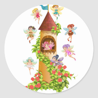 Fairies and tower round sticker