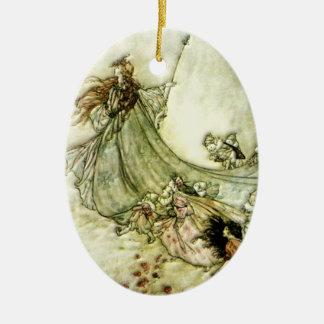 Fairies Away - Arthur Rackham Christmas Ornament