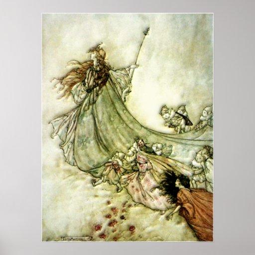Fairies Away - Arthur Rackham Posters