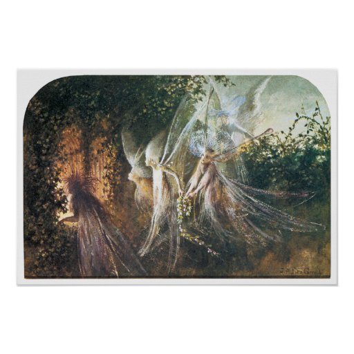 Fairies Looking Through a Gothic Arch Print