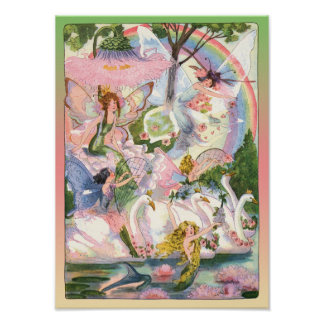 Fairies Mermaids and Swans Print