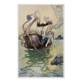 Fairies on the Seashore Print by Warwick Goble