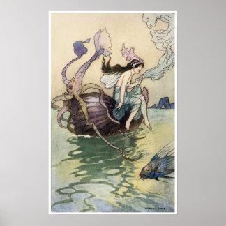 Fairies on the Seashore Print by Warwick Goble