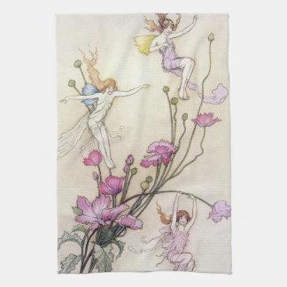Fairies Playing on Flower Tea Towel