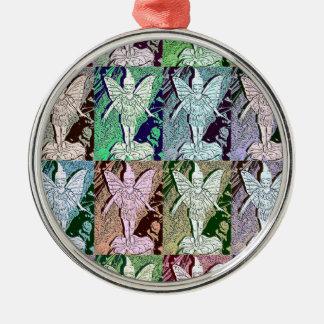 Fairies Pop Art Design Silver-Colored Round Decoration