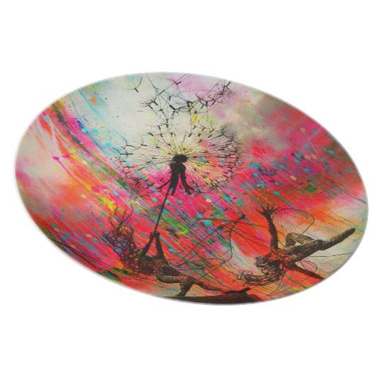 Fairies Spreading Daisy Seeds Plate