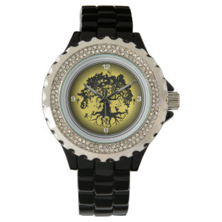 Fairies Tree Women's Rhinestone Black Enamel Watch