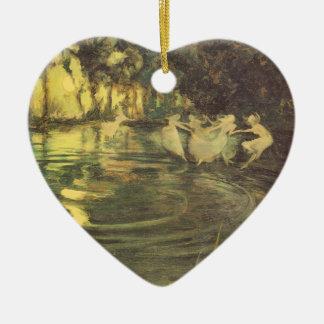 Fairies Whirl by Arthur Black, Vintage Fairy Dance Ceramic Heart Decoration