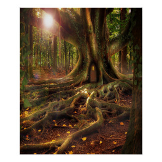 Fairies, Wiccan, Pagan, Sunlit Forest Poster