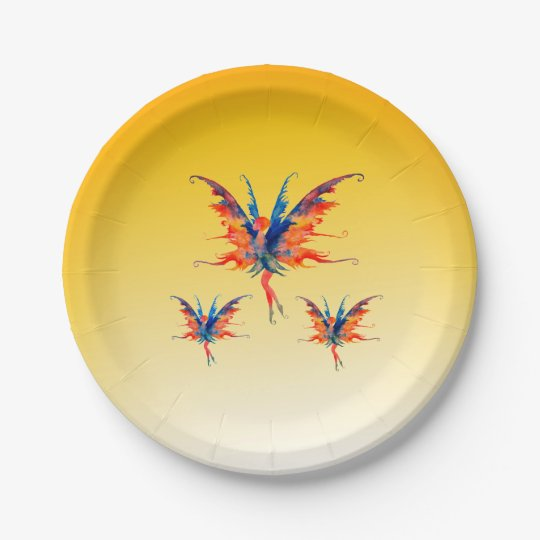 Fairies Wings Custom Paper Plates 7 in 7 Inch Paper Plate