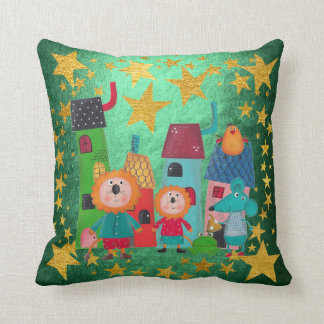 Fairly Tail Magic Town Animals Golden Star Throw Pillow