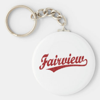 Fairview script logo in red basic round button key ring