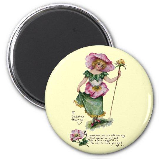 Fairy and Brier Rose Vintage Valentine 6 Cm Round Magnet