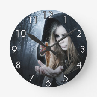 Fairy and Girl Round Clock