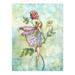 Fairy and Little Winged Bunny Fantasy Art Post Cards