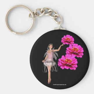 Fairy And Pink Zinnias Flower Keychain Keyring
