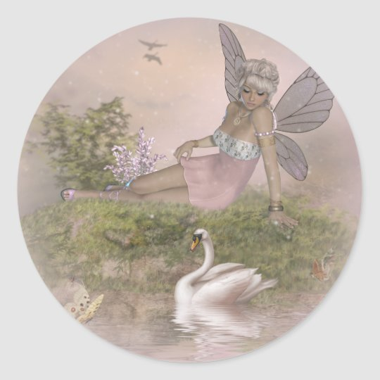 Fairy and Swan Classic Round Sticker