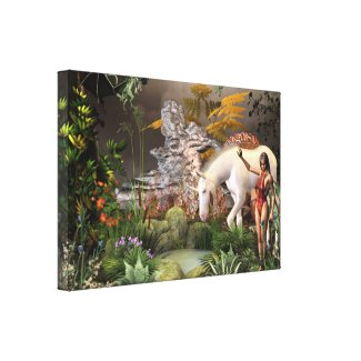Fairy and the unicorn. stretched canvas prints