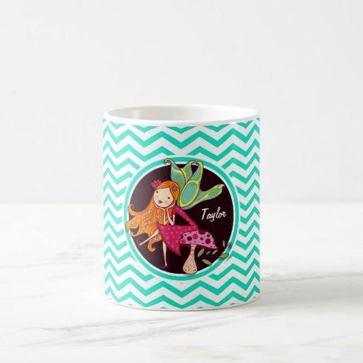 Fairy; Aqua Green Chevron Coffee Mugs
