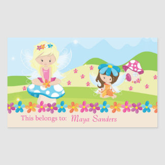 Fairy Back to School Personalized Labels Rectangular Sticker