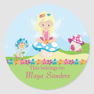 Fairy Back to School Personalized Round Labels Round Sticker