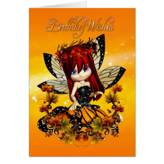 fairy birthday card - birthday wishes autumn colou