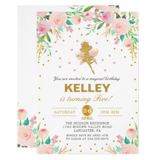 Fairy Birthday Invitation Pink Floral Girl Party
