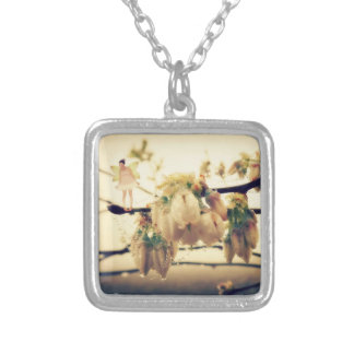 Fairy Blessings and Blueberry Blossoms Silver Plated Necklace