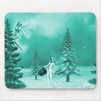 Fairy Christmas decorating mousepad green