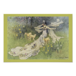 Fairy Coquette and Lambs by Warwick Goble Poster