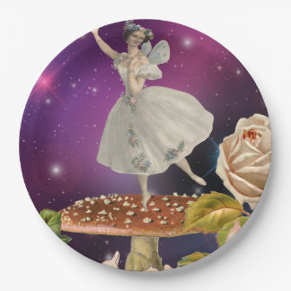 Fairy Dancing on a Mushroom Paper Plate
