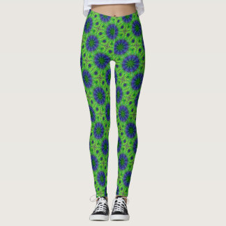 Fairy Dandelion Dark Satin on Green Leggings