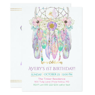 Fairy Dream Catcher Boho Feathers Arrows 13 Cm X 18 Cm Invitation Card