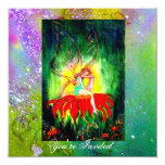 FAIRY DREAMING ON A RED FLOWER purple yellow,green Custom Invitation