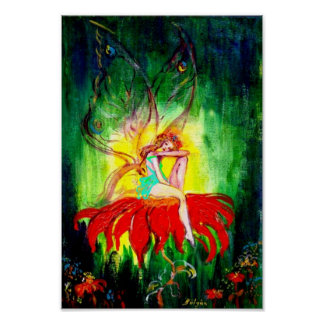 FAIRY DREAMING ON THE FLOWER POSTER