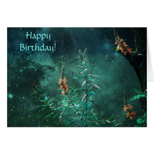Fairy Flowers in the Jade Moonlight Birthday Card