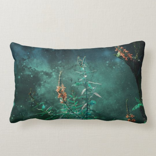 Fairy Flowers in the Jade Moonlight Lumbar Cushion