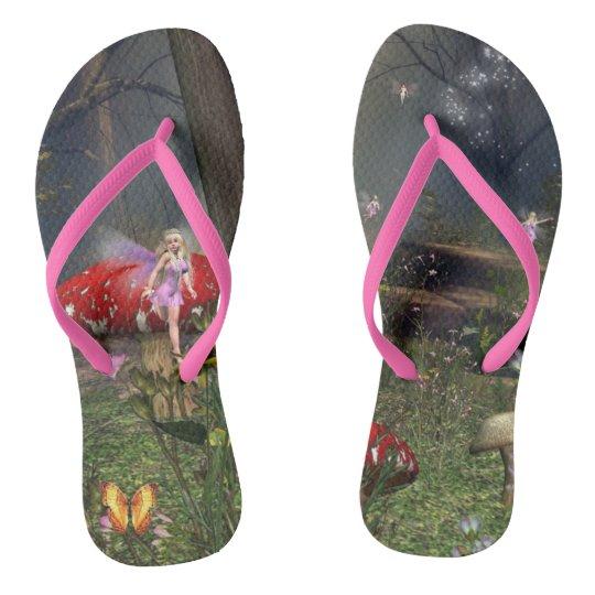 Fairy forest flip flops