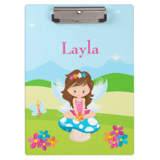 Fairy Girl Blue Sky Green Grass Flowers Clipboard
