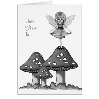 Fairy Girl on Toadstools, Just Flew In, Pencil Art Greeting Card