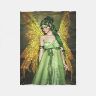 Fairy Girl with Green Hair Fleece Blanket