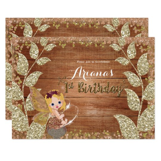 Fairy & Glittery Leaves Rustic Glam Fall Birthday