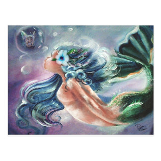 Fairy in a Bubble, Mermaid Art Greetings Postcard