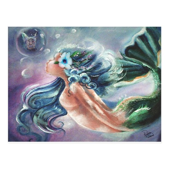 Fairy in a Bubble, Mermaid Art Greetings Postcard