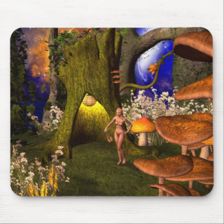 Fairy in a mushroom forest in the night mouse mat
