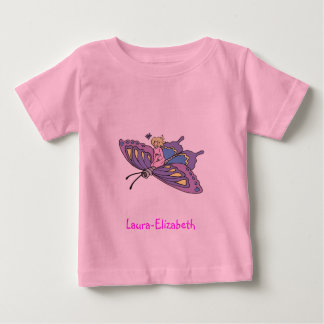 Fairy in Pink Flying on Butterfly Baby T-Shirt